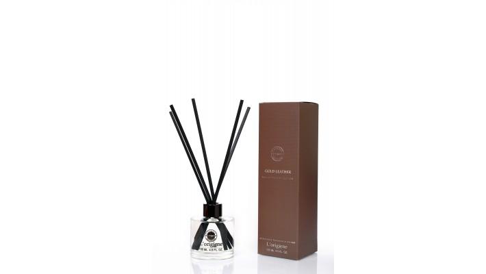 L'origiene Gold Leather Interieurgeur-geurstokjes -Huisparfum-Interieur parfum-Reed diffuser-135ml